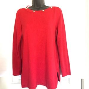 Cable & Gauge | Red Knit Boatneck Tunic